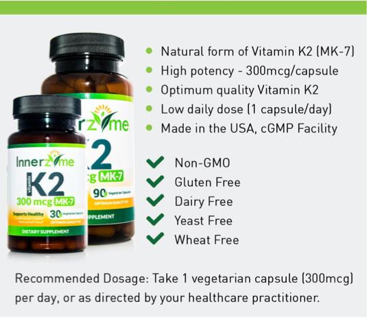 Vitamin K2 Mk 7 300mcg Supplement Innerzyme